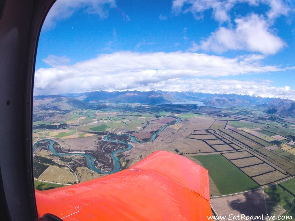 The view of Wanaka from the plane