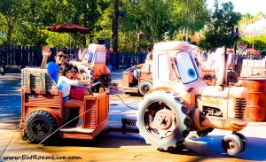 Riding the tractors in Radiator Springs