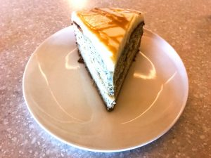 Banana Cake with Mascarpone and Caramel, Topped with Cream Cheese Icing: At Anokhi Cafe