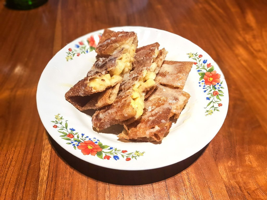 Banana Roti drizzled with sugar and condensed milk. Sinful!