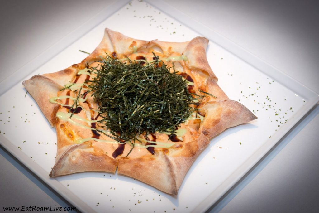 Sufood's flagship dish: Star Pizza with Cream Cheese & Wasabi-Tomato Sauce