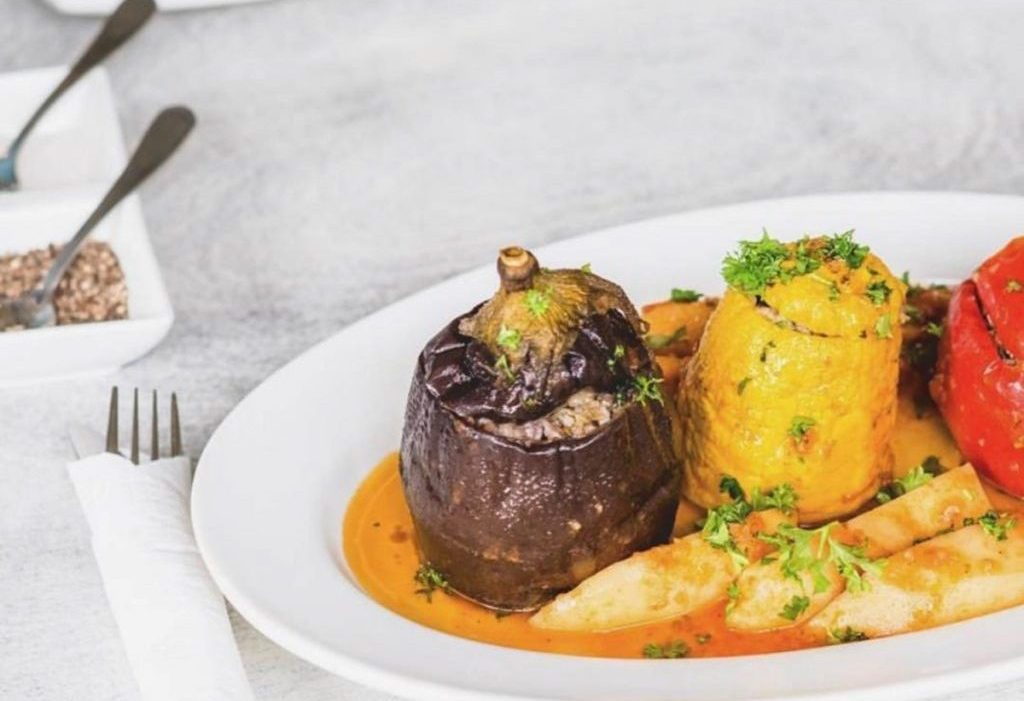 Gemista - roasted vegetables stuffed with marinated herbed rice