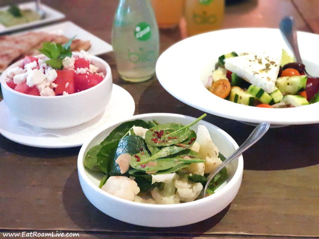 Watermelon Salad, Cauliflower Salad and Greek Salad at Blu Kouzina