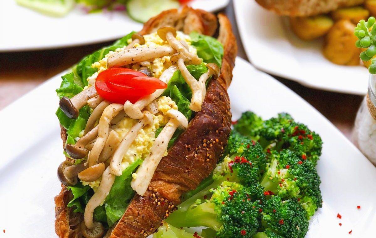 Vegan Mushroom and egg truffle croissant