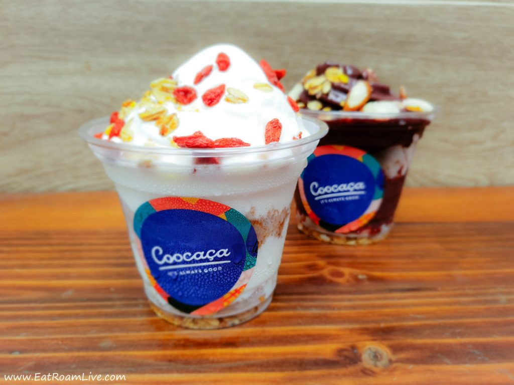 Coocaca's Soft Serve - Yogurt Soft Serve and Açaí Soft Serve, with a range of toppings to choose from