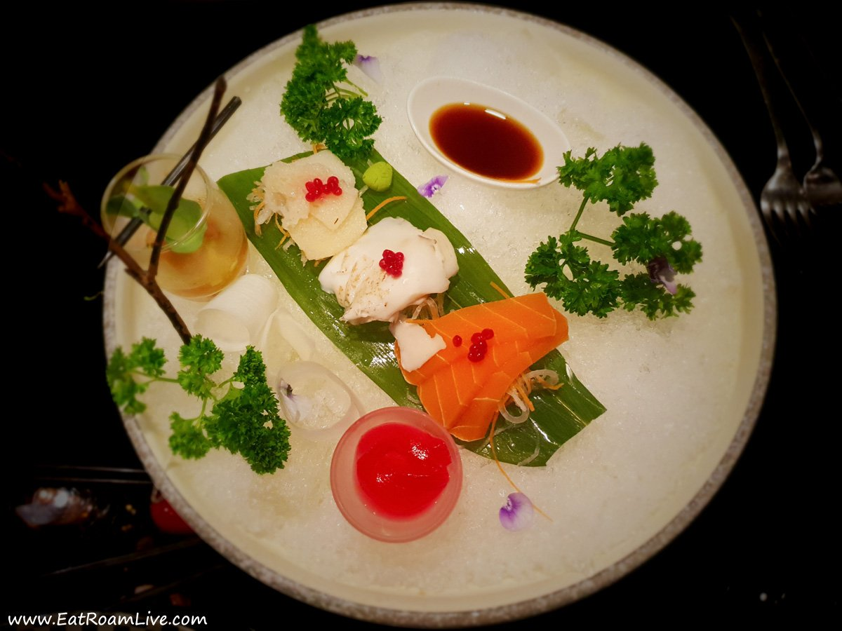 Vegetable Sashimi on Ice with Sea Grapes Shooter Glass at Joie by Dozo Singapore