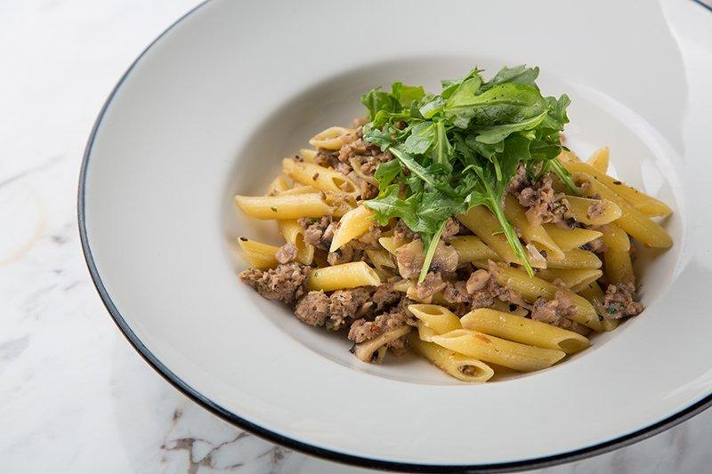 Omnipork Aglio Olio at Pizza Express Jewel Changi, vegetarian & vegan dining